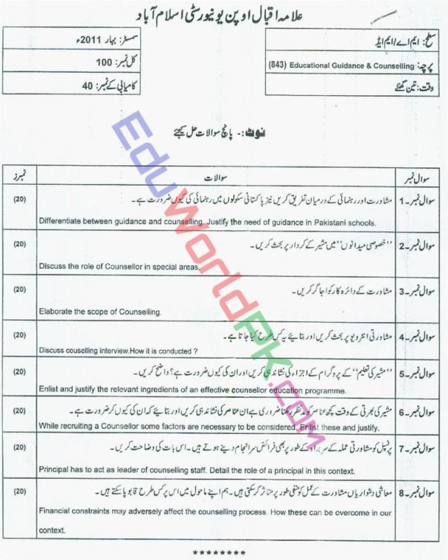 AIOU-MEd-Code-843-Past-Papers-Spring-2011