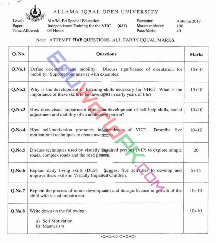 AIOU-MEd-Code-677-Past-Papers-Autumn-2017