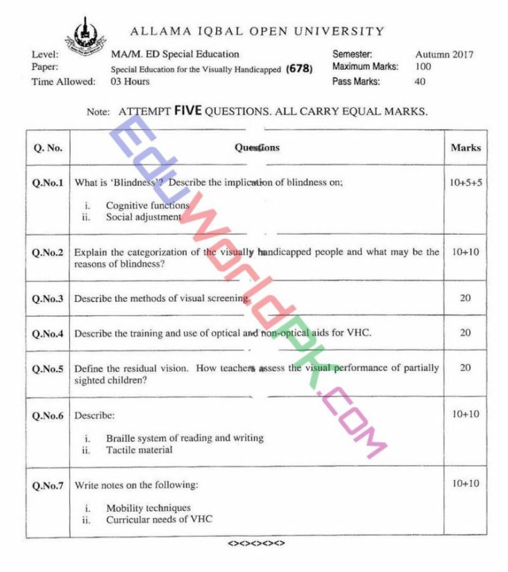 AIOU-MEd-Code-678-Past-Papers-Autumn-2017