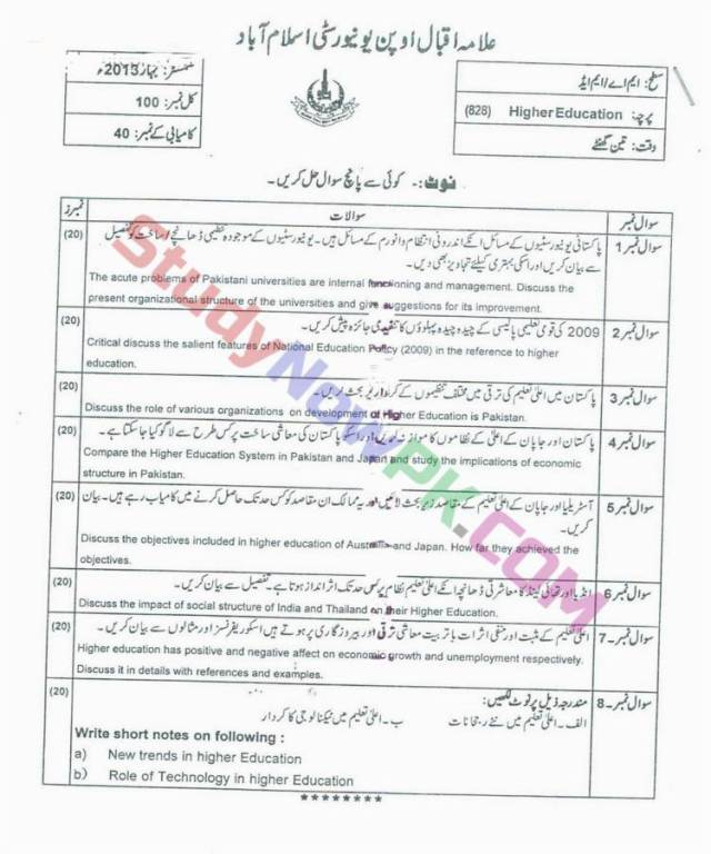 AIOU-MEd-Code-828-Past-Papers-Spring-2013