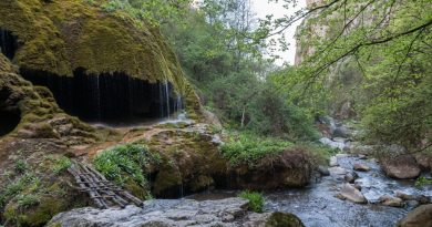 Waterfall in the Hunot Canyon on the Janapar Trek.