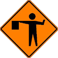 Flagger symbol in construction zone. This is a...