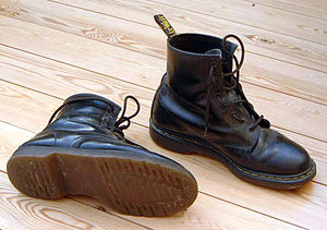 Pair of classic black leather Dr. Martens boot...