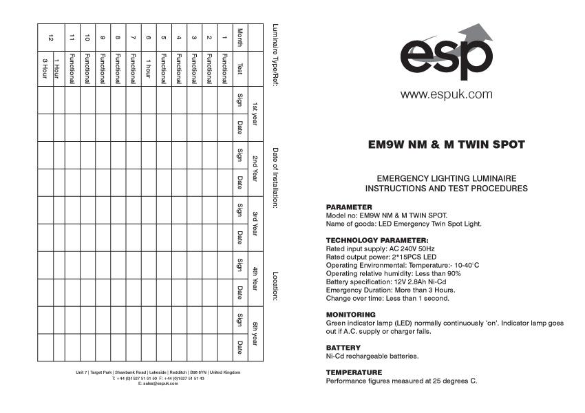 ESP EM9WNMSPOT 2x4.5watt LED Twinspot 3hour Non-Maintained