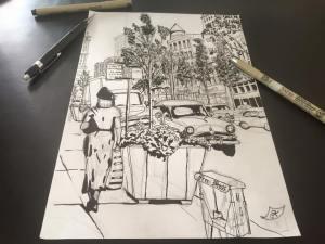 opzet tekening streetview detroit