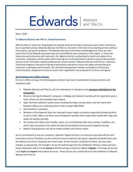 Edwards Work Safe Measures