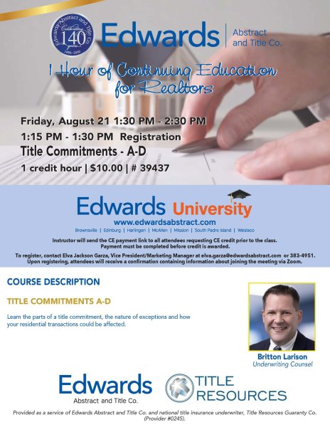 1 Hour CE Credit – Title Commitments A-D