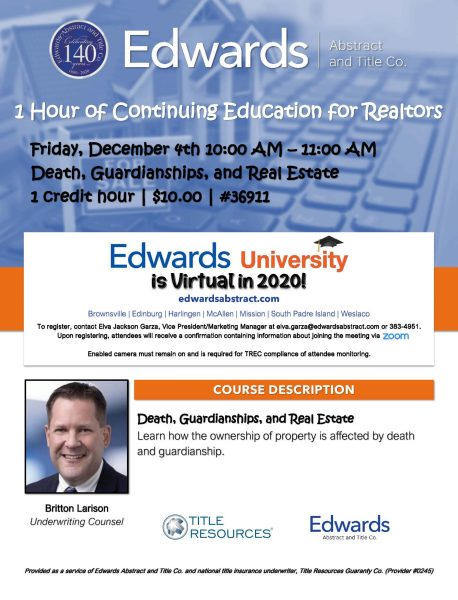 TWO chances to EARN CE with Edwards in December!