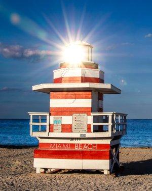 Lifeguard Tower Jetty Sun Glare Left Side Portrait