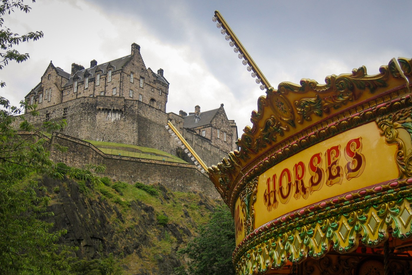 Edinburgh Castle with Merry-go-round