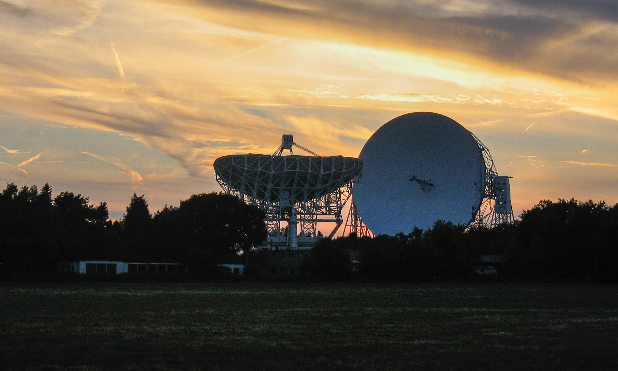 Sunset behind Jodrell Bank, Cheshire