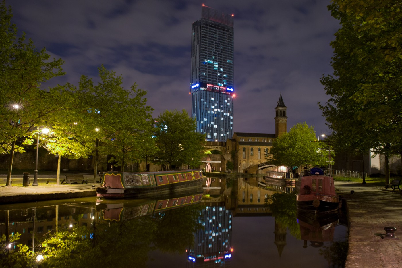 Castlefield canal boats at night