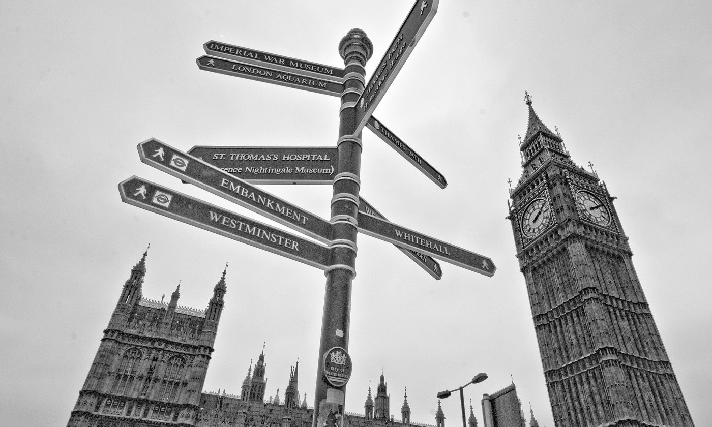 Sign Post outside Westminster Abbey, London