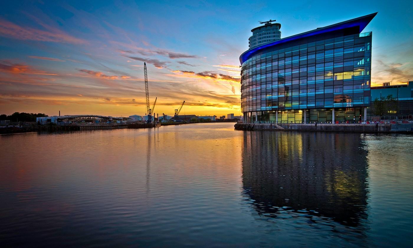 Sunrise on Media City, Salford Quays