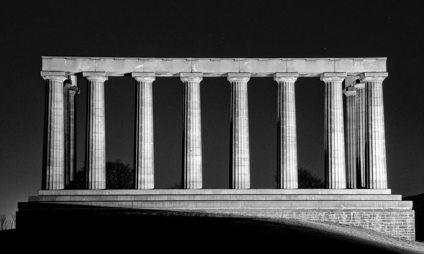 Edinburgh's National Monument in Monochrome