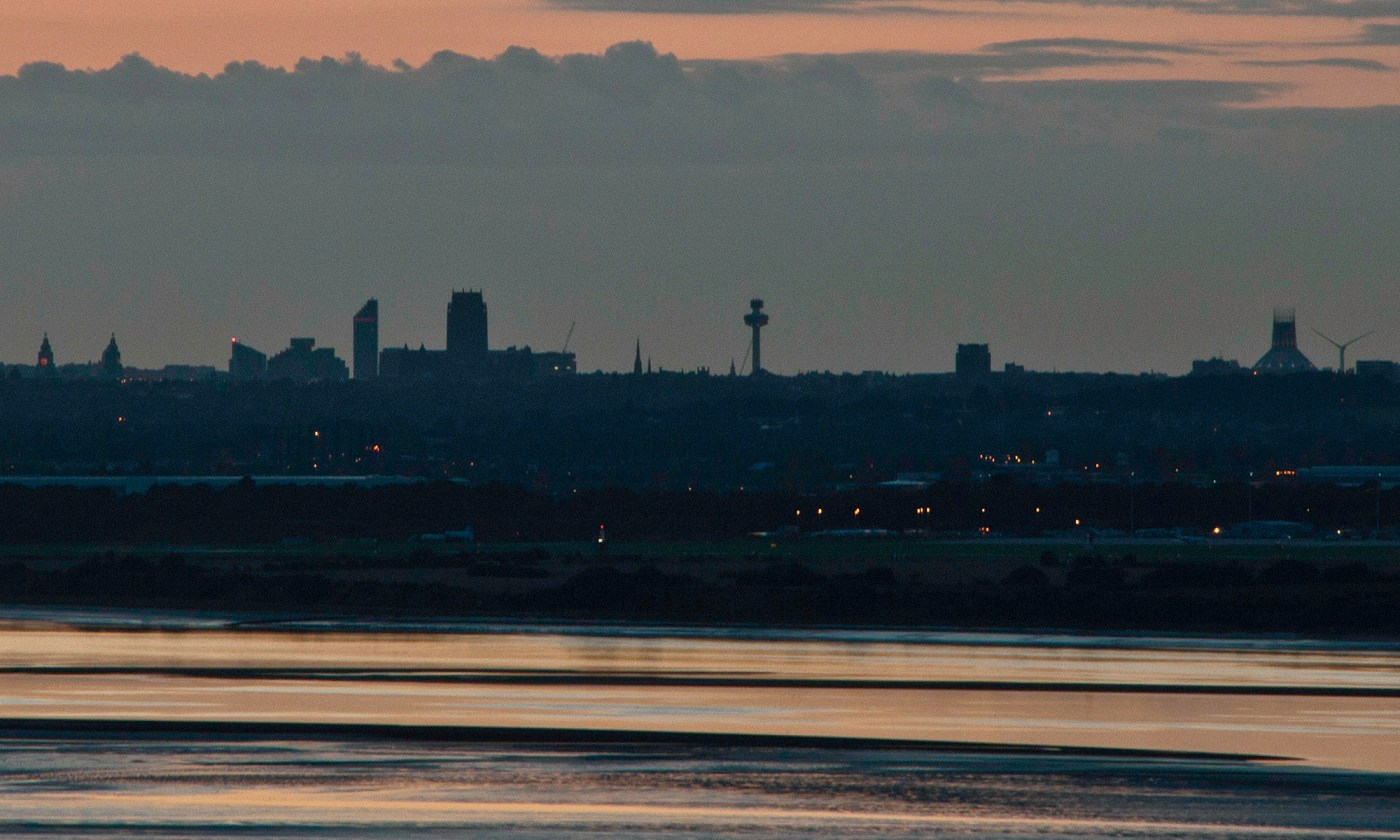 Liverpool Skyline Silhouette at Dusk
