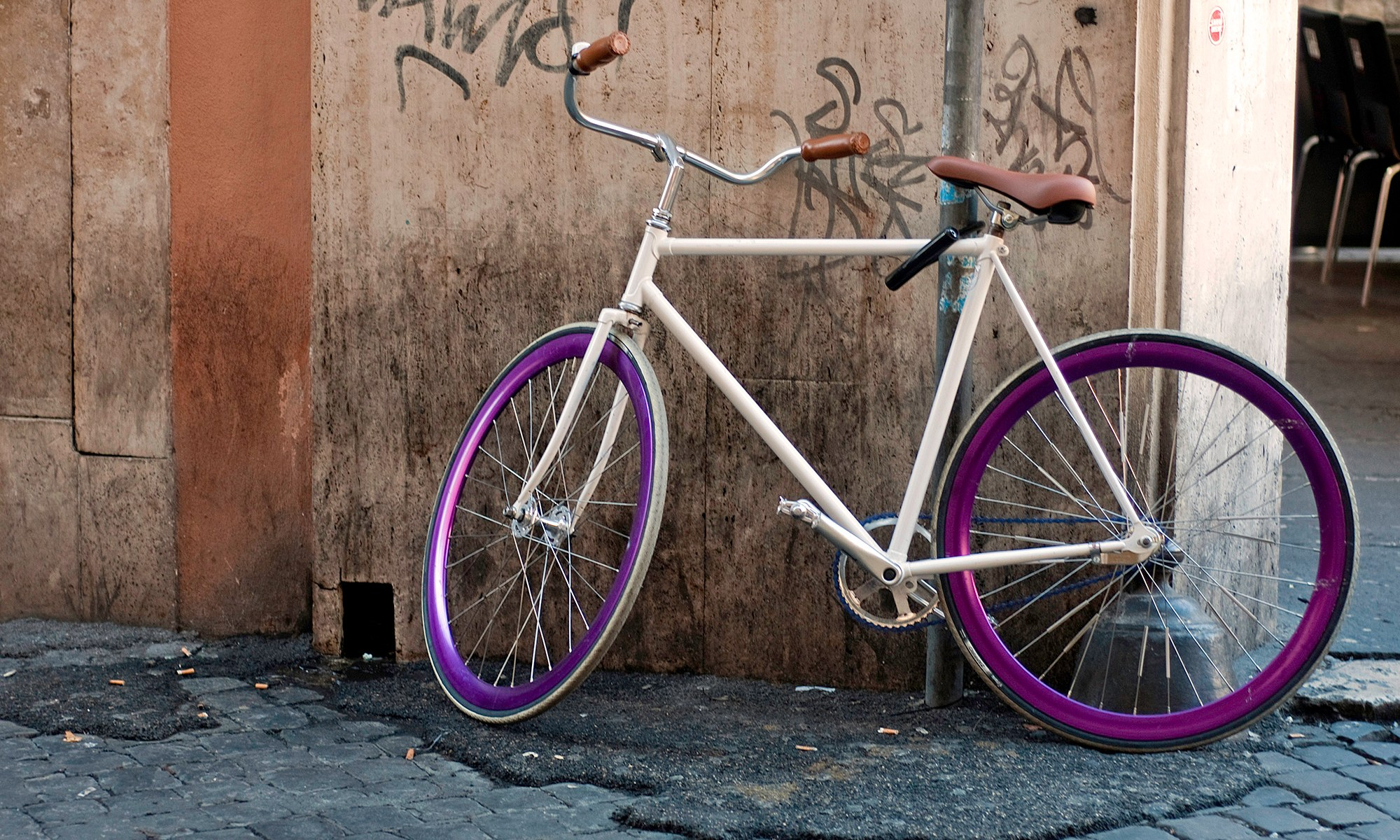 Purple Rimed Push Bike