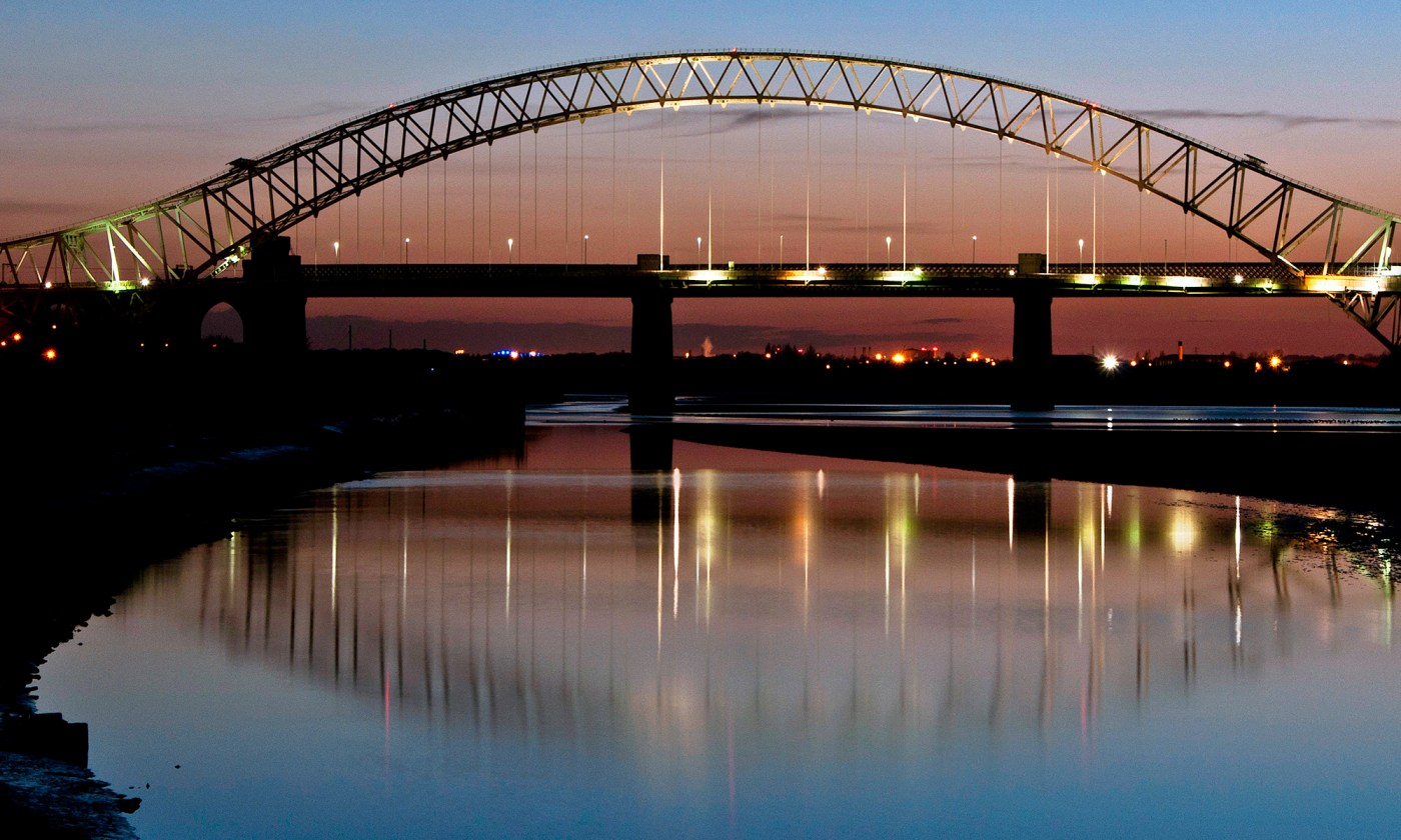 Runcorn Widnes Bridge at Dusk
