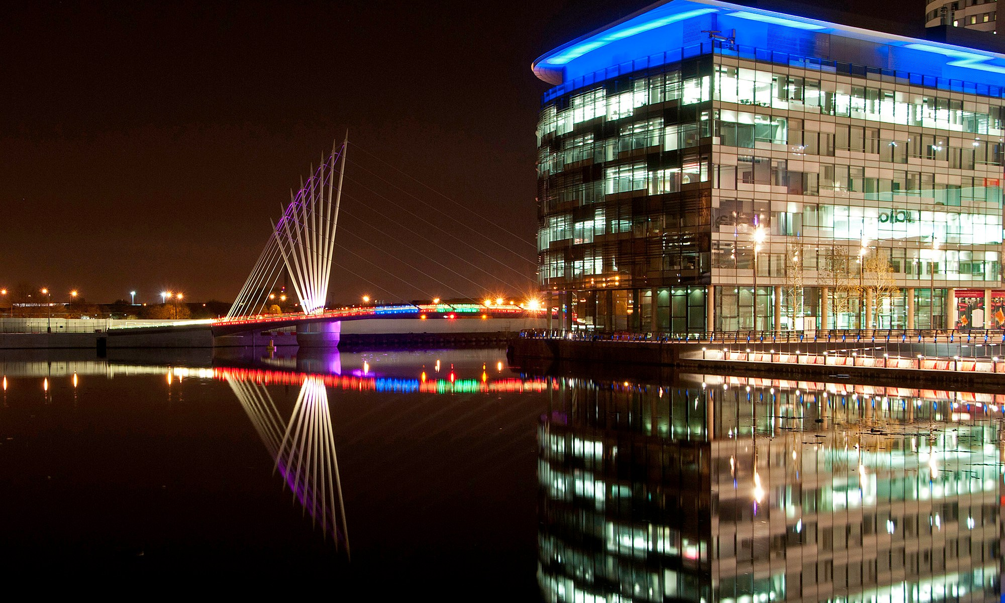 BBC Building and Bridge at Night