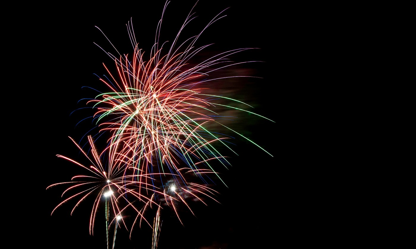 Fireworks in Red, Green and Purple