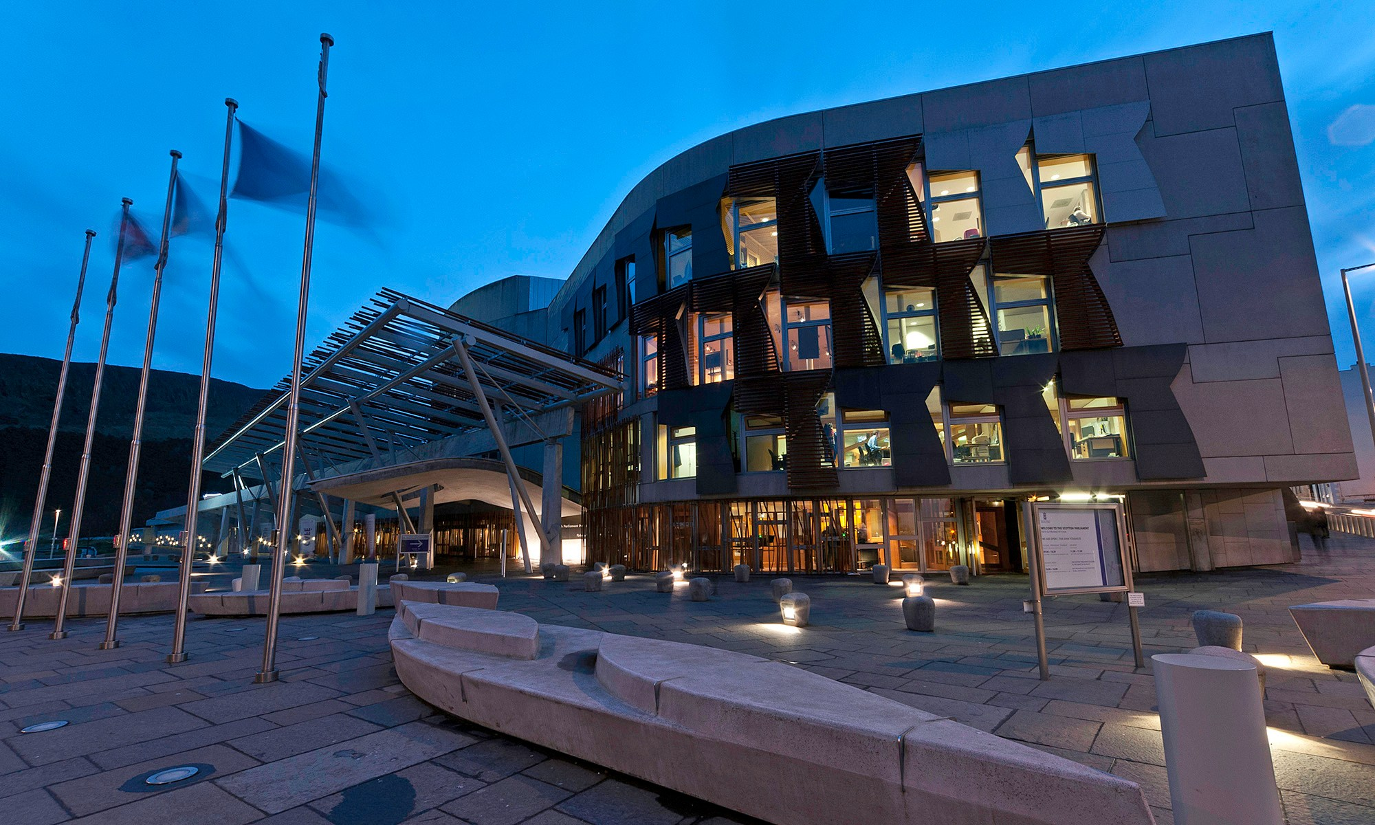 Scottish Parliament Building at Night