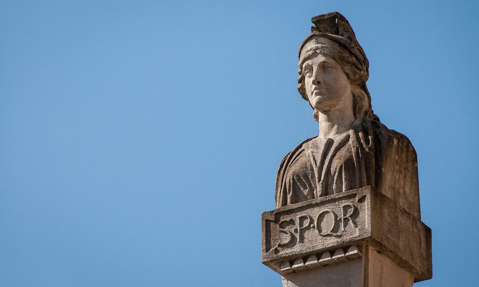 SPQR - Statue of a Roman woman at the Roman Baths