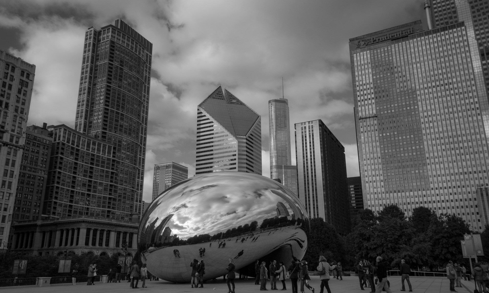 Cloud Gate Sculpture in Black and White
