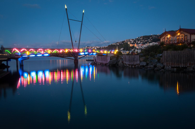 Lagoon Bridge Wellington at night