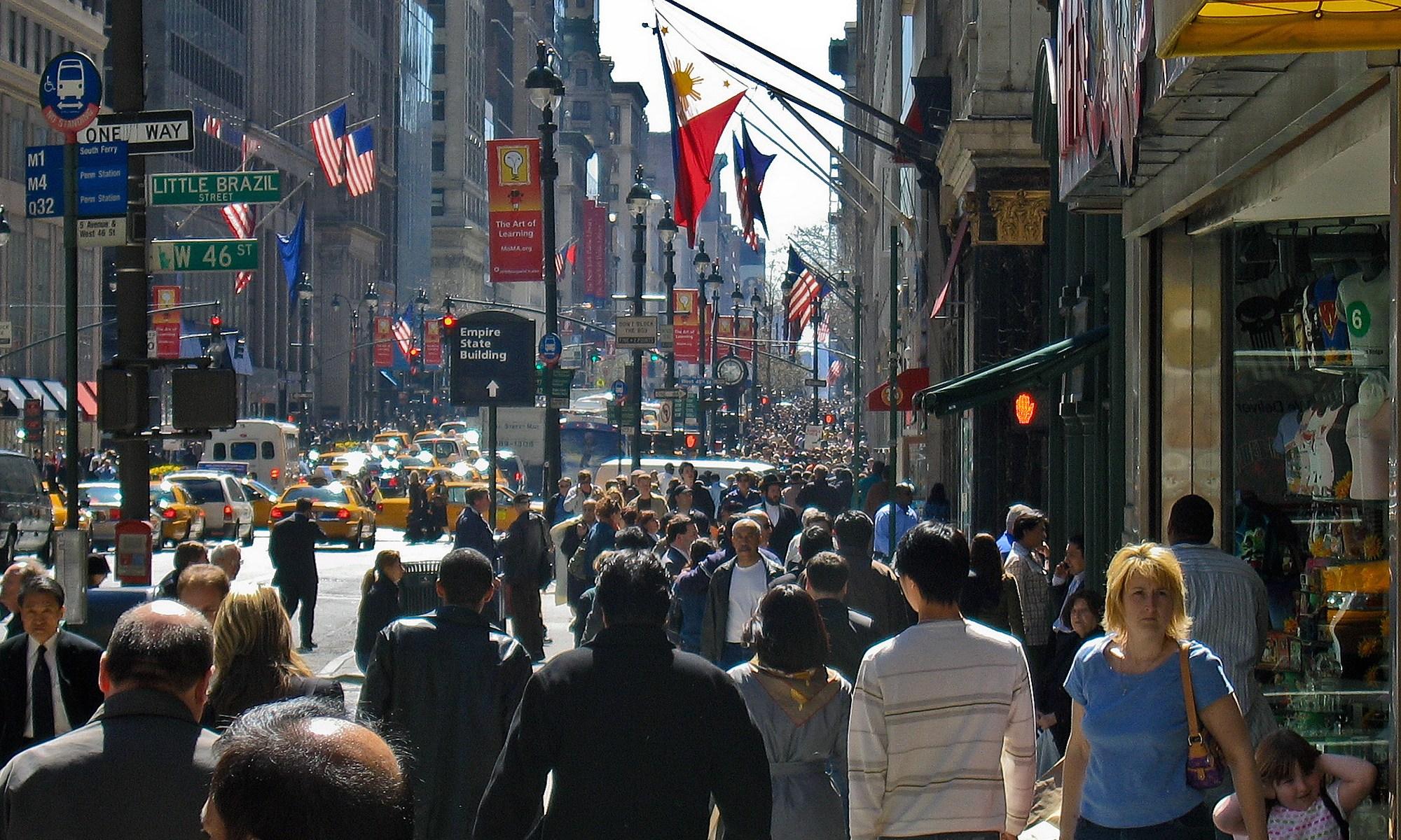 Crowded 5th Avenue Sidewalk, New York City