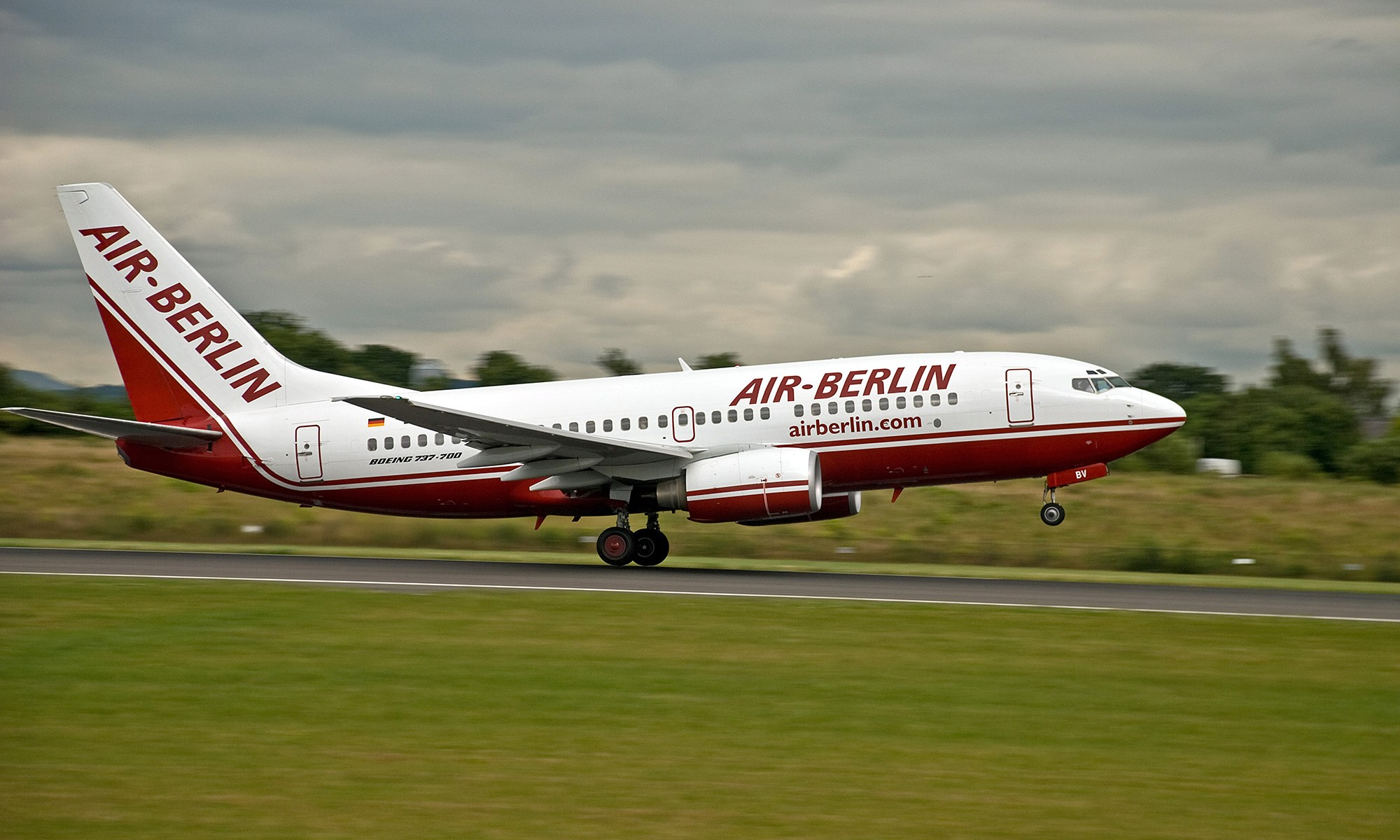 Air Berlin Plane taking off from Manchester
