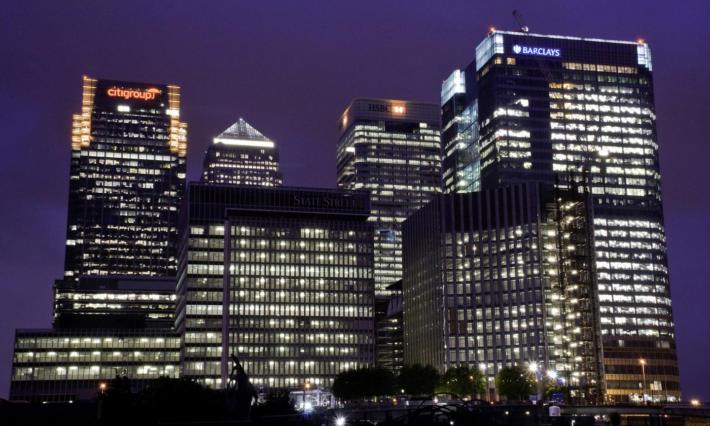 Canary Wharf Skyscrappers at Night
