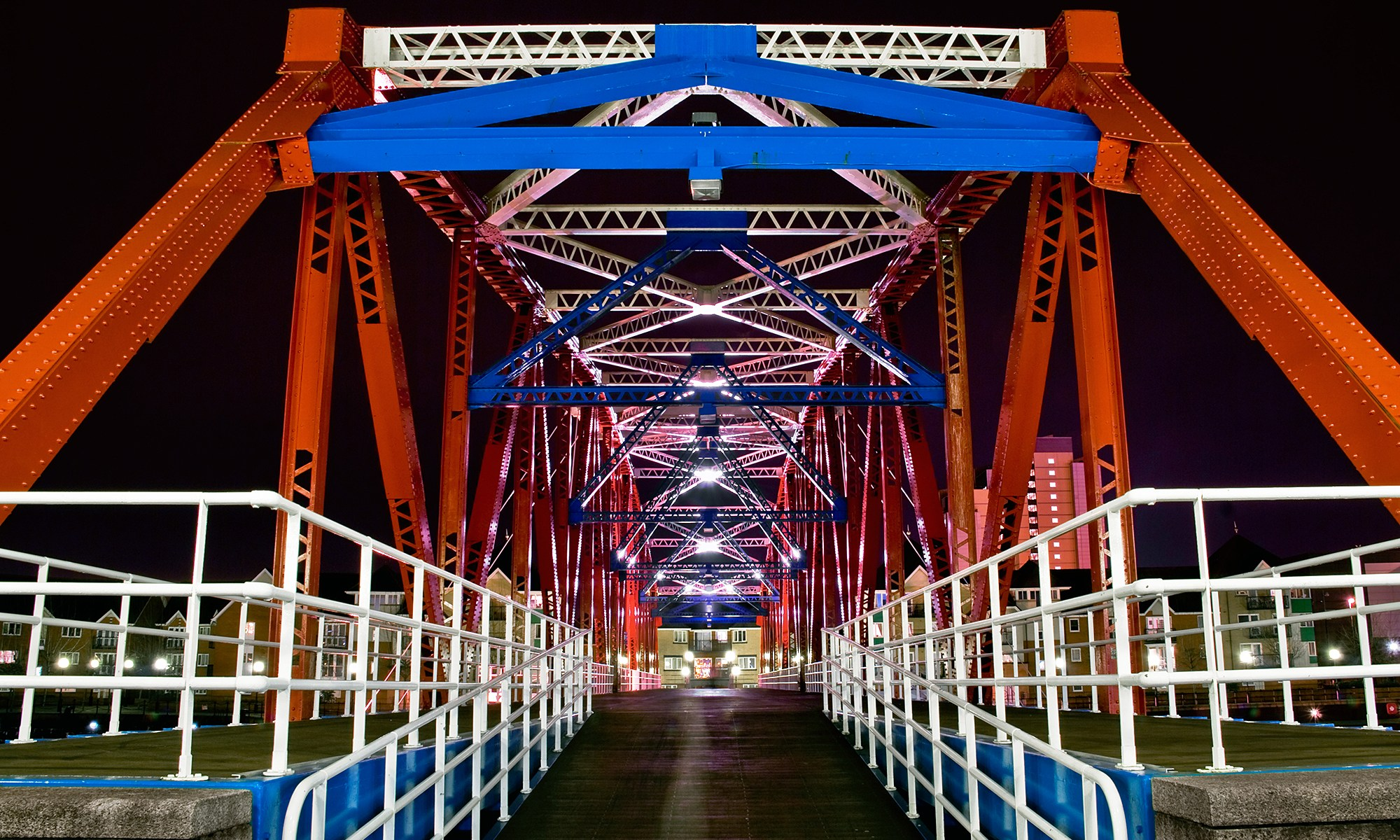 Salford Quay's Detroit Bridge at Night