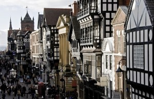 Eastgate Street from Roman Wall, Chester
