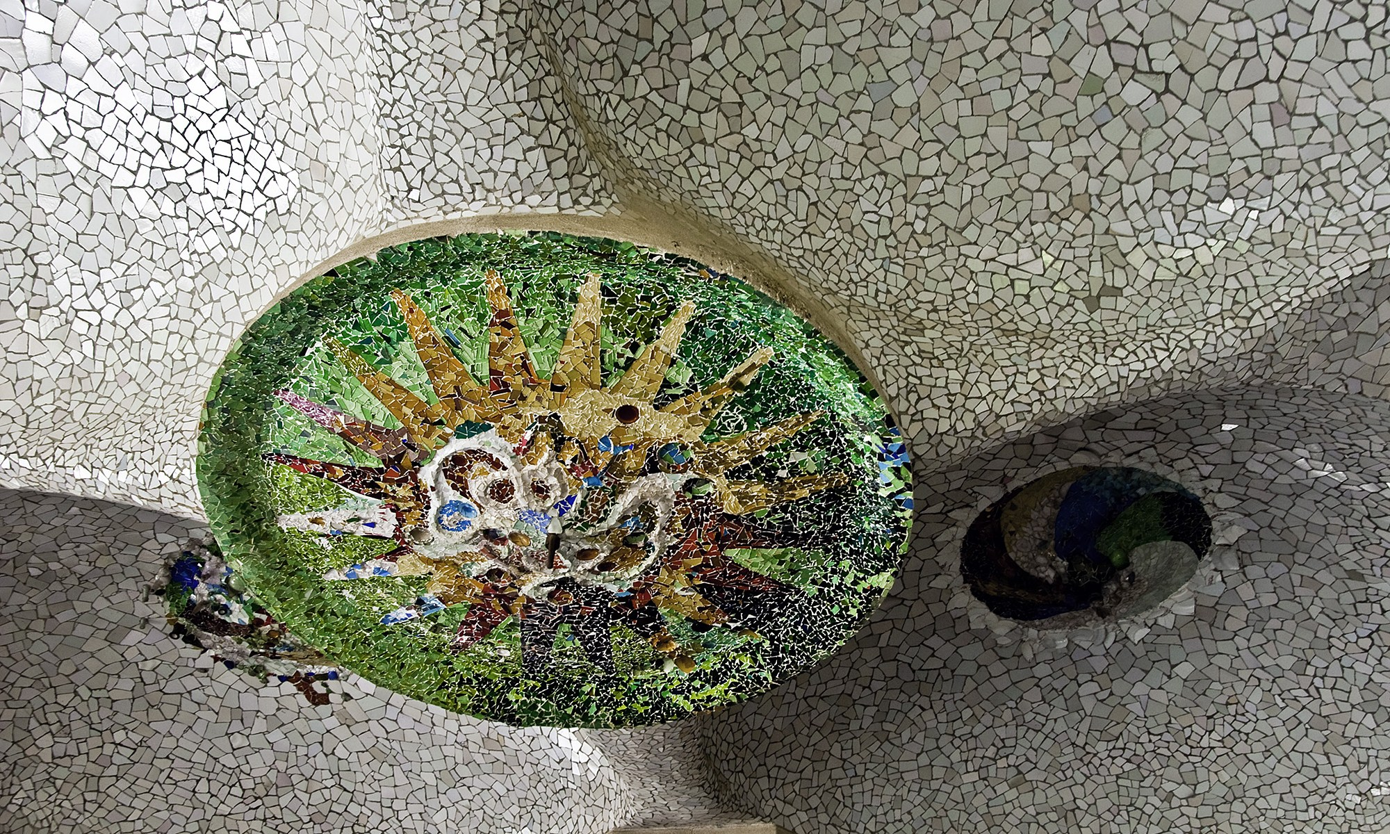 Gaudi's Tiled Mosaic at Park Guell