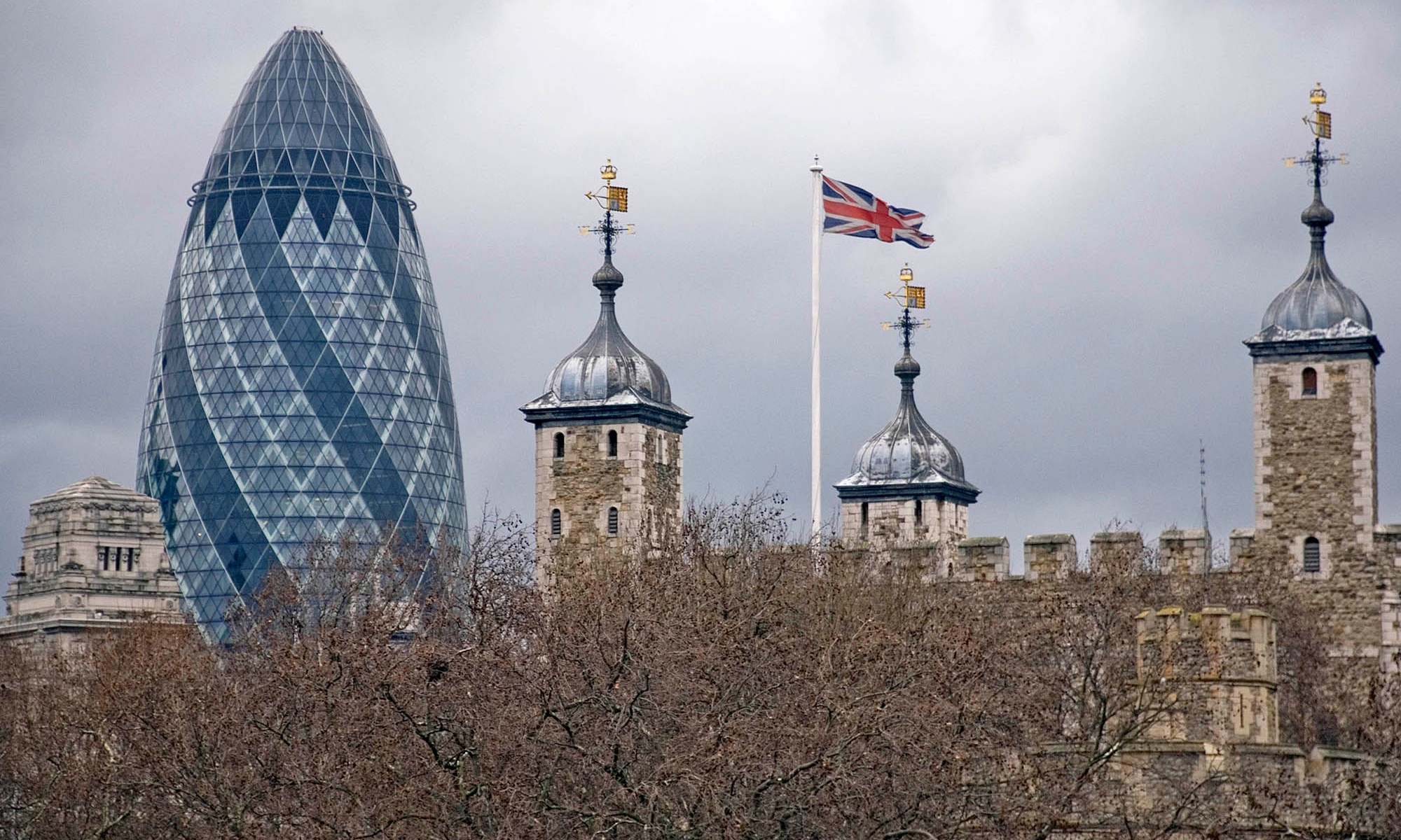 Gherkin behind the Tower of London