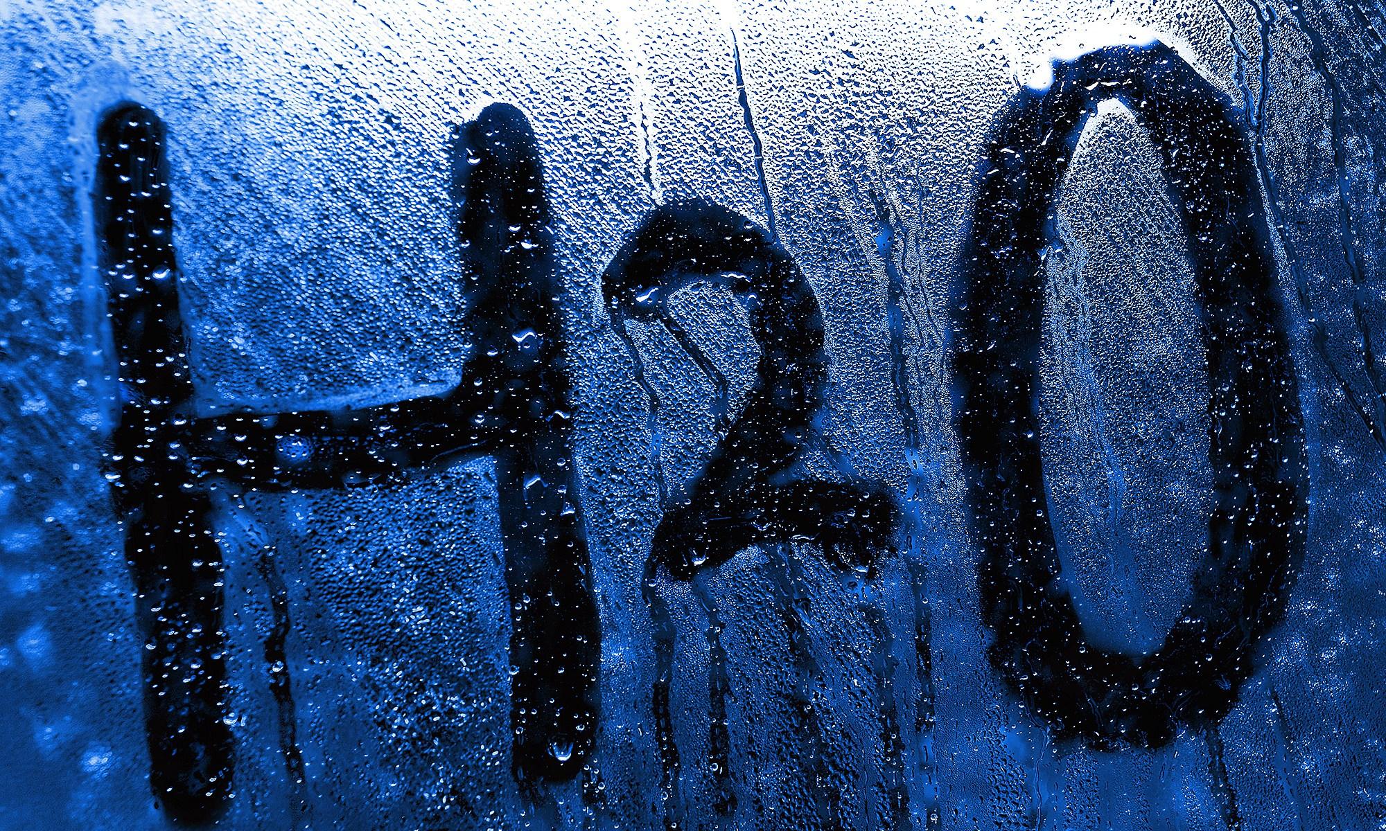 H2O water symbol in steam