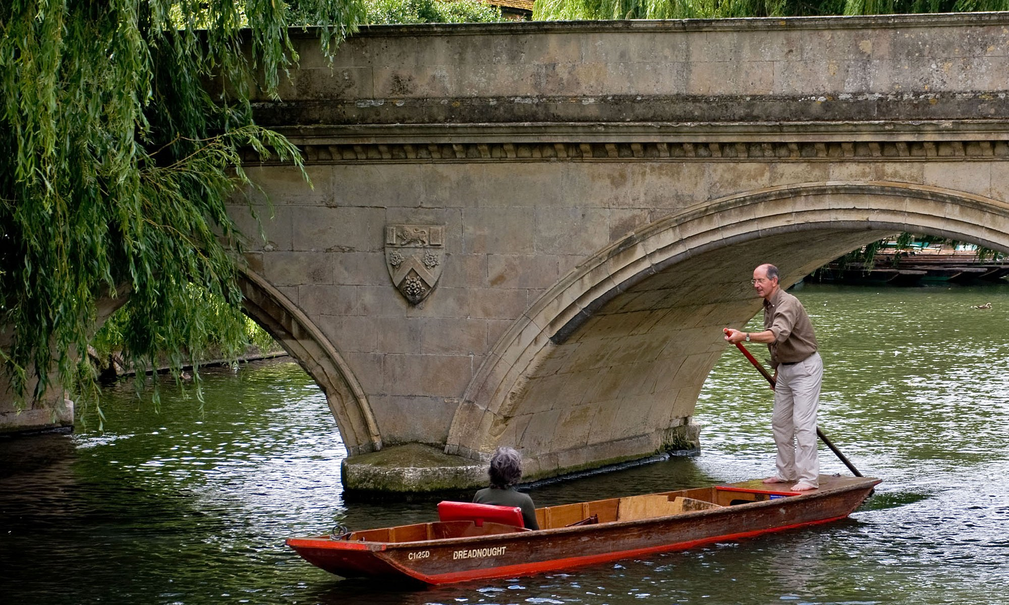Couple Punting on River Cam, Cambridge