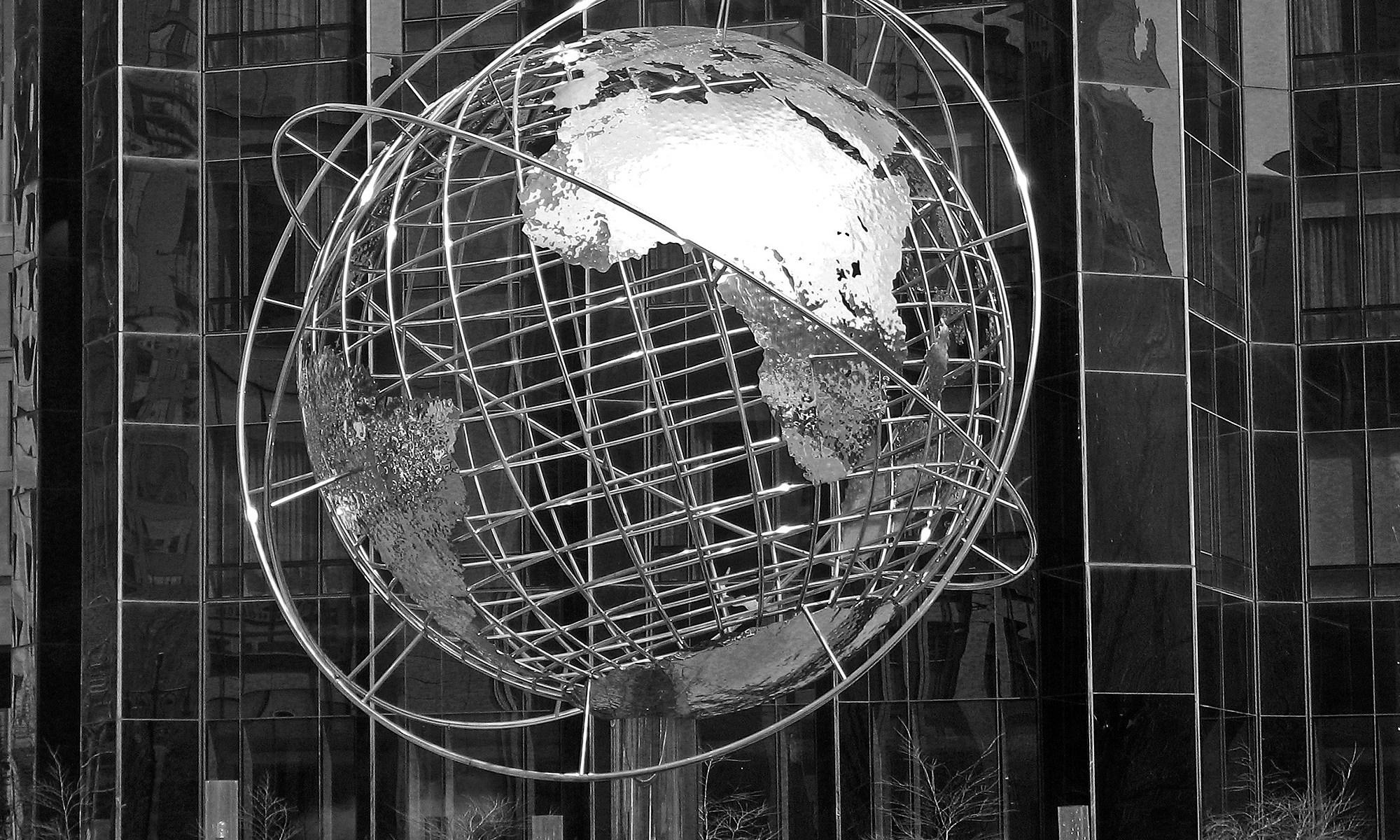 Globe in front of Trump Hotel, New York