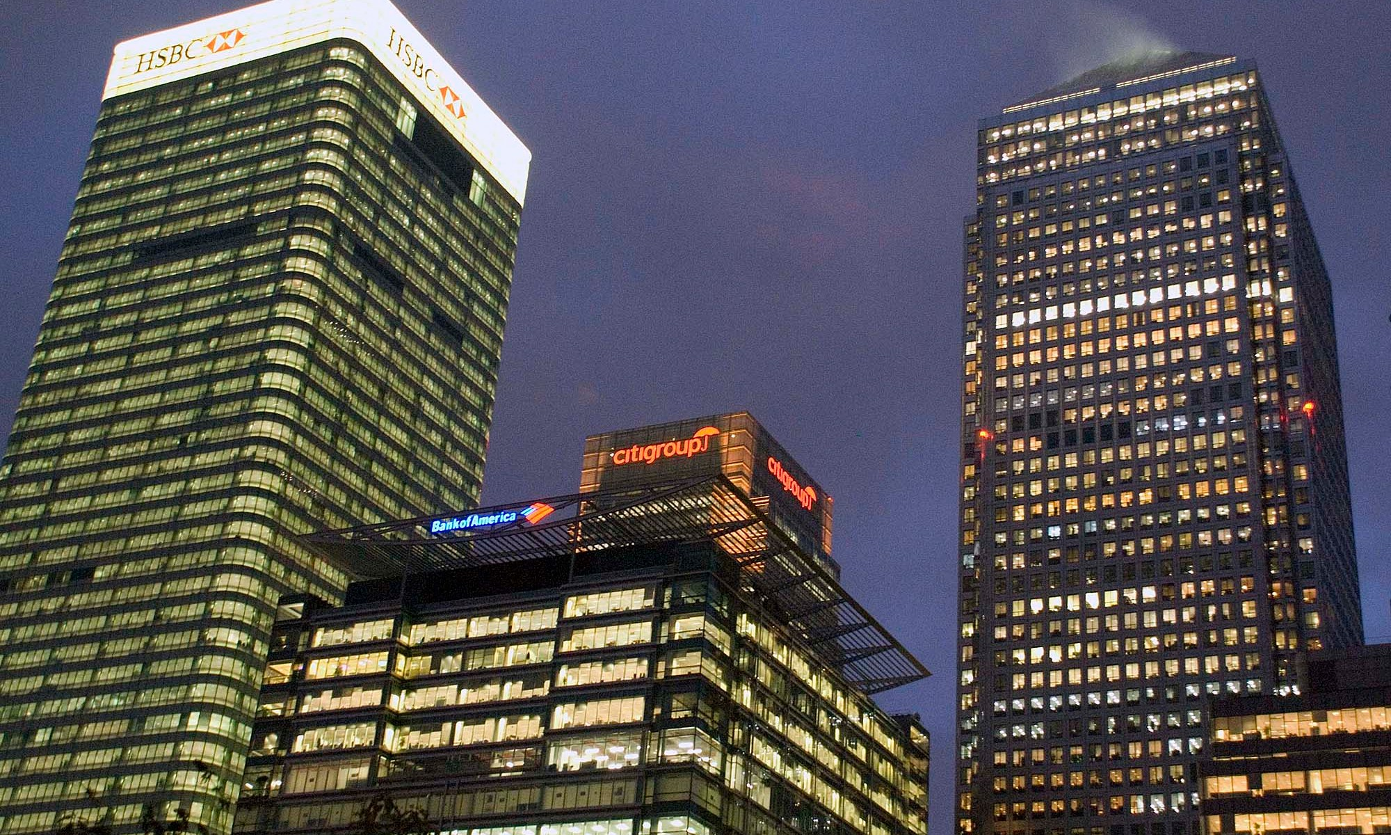 Three Tallest Buildings in the UK at Night