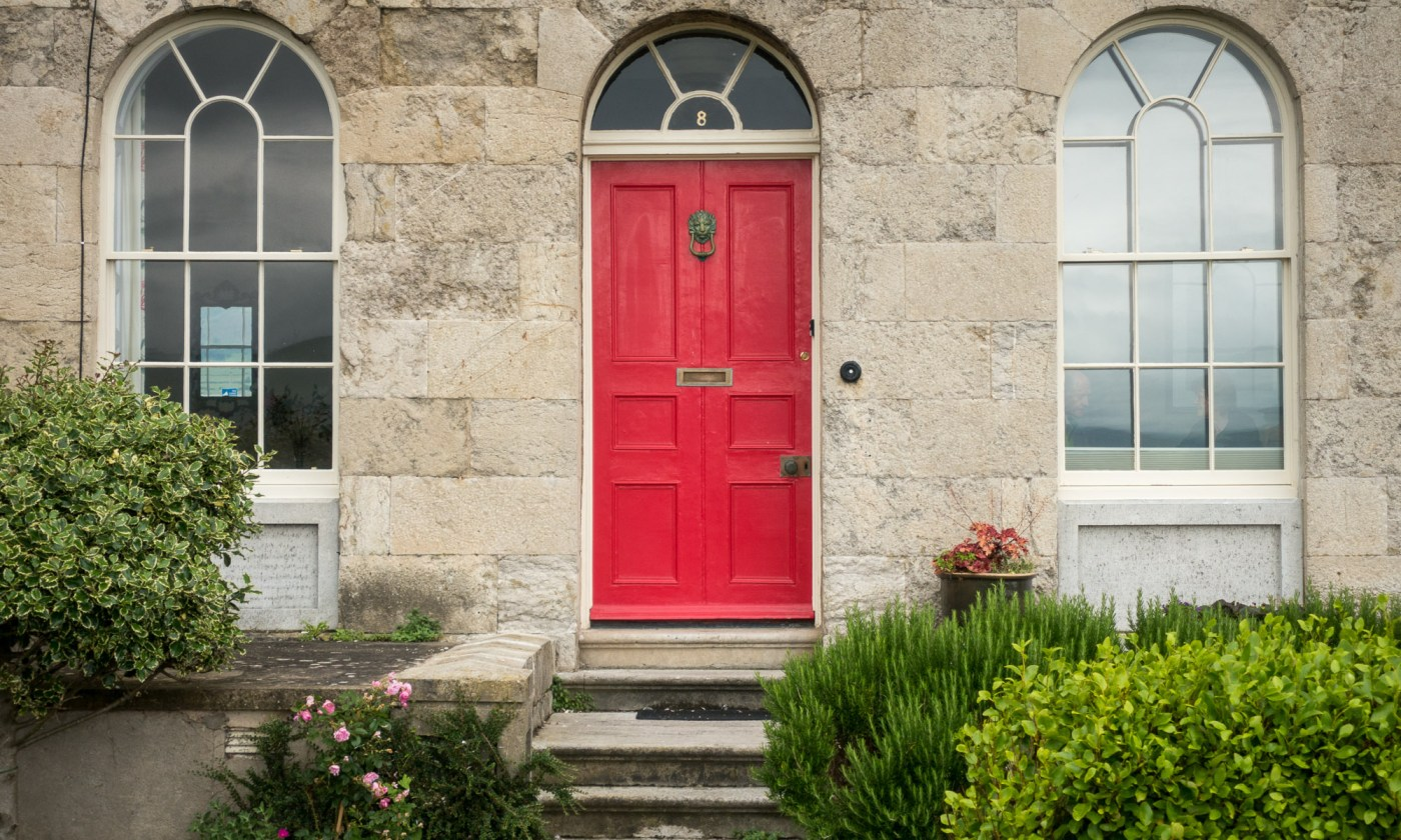 Red door at Beaumaris Sea Front