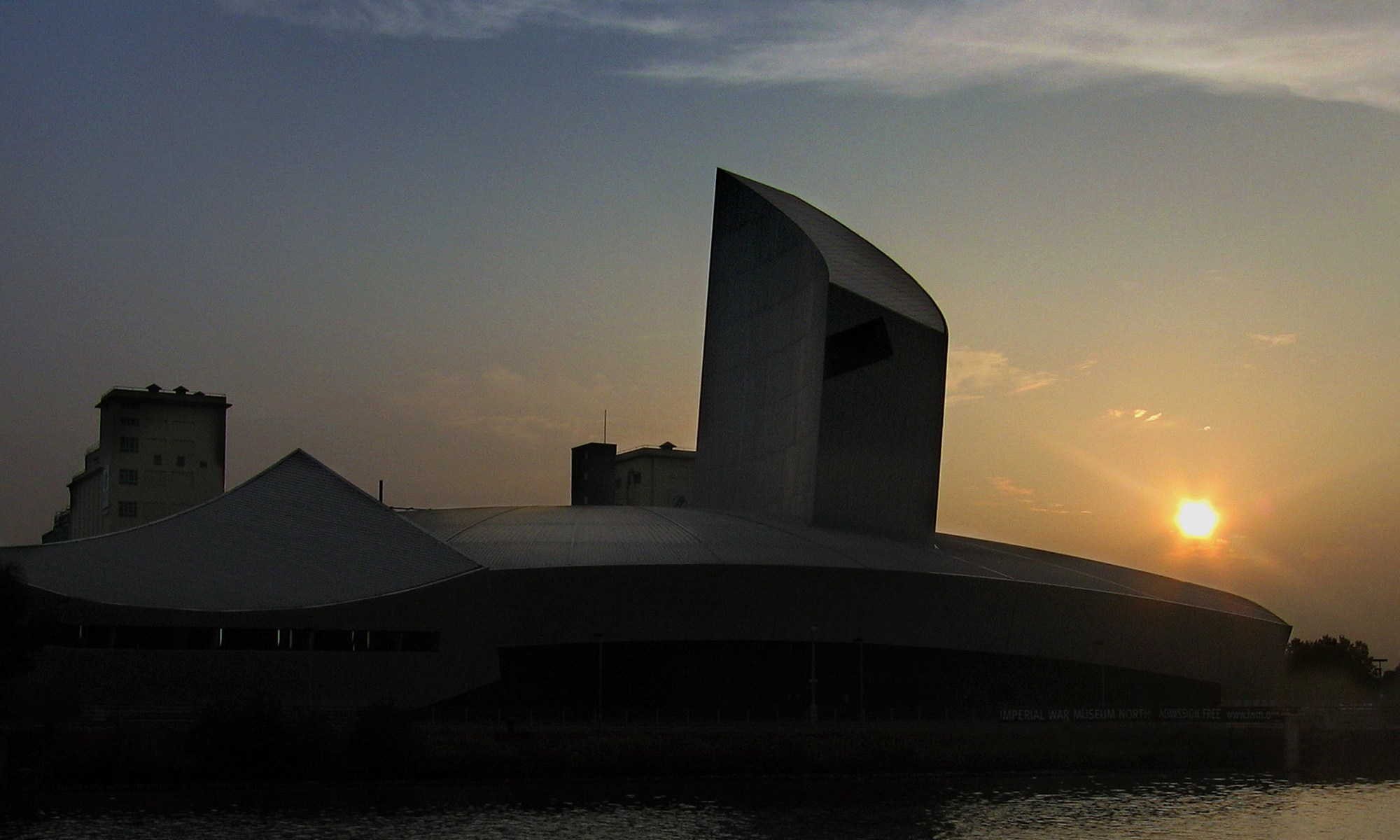 Sunset over Imperial War Museum at Salford Quays