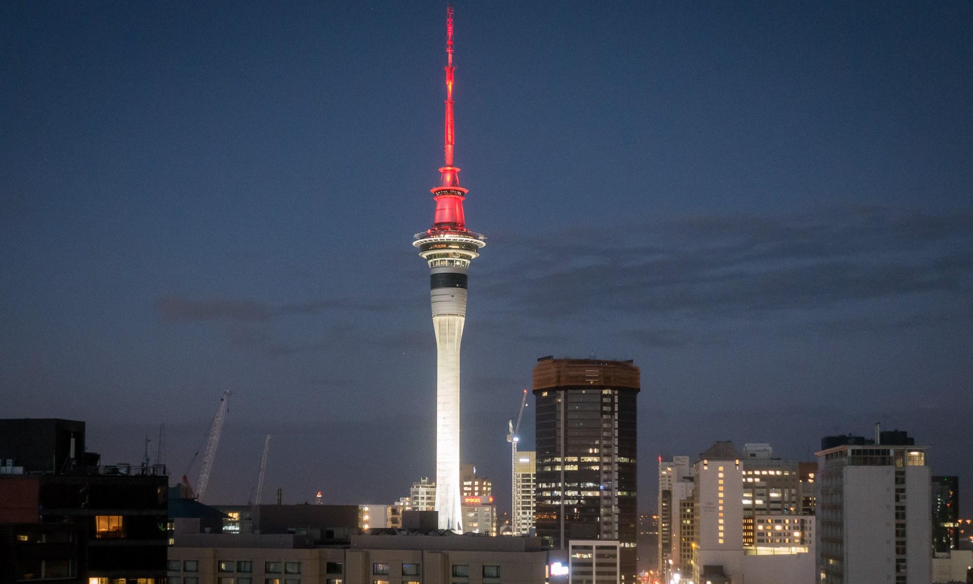 Auckland Skytower at night