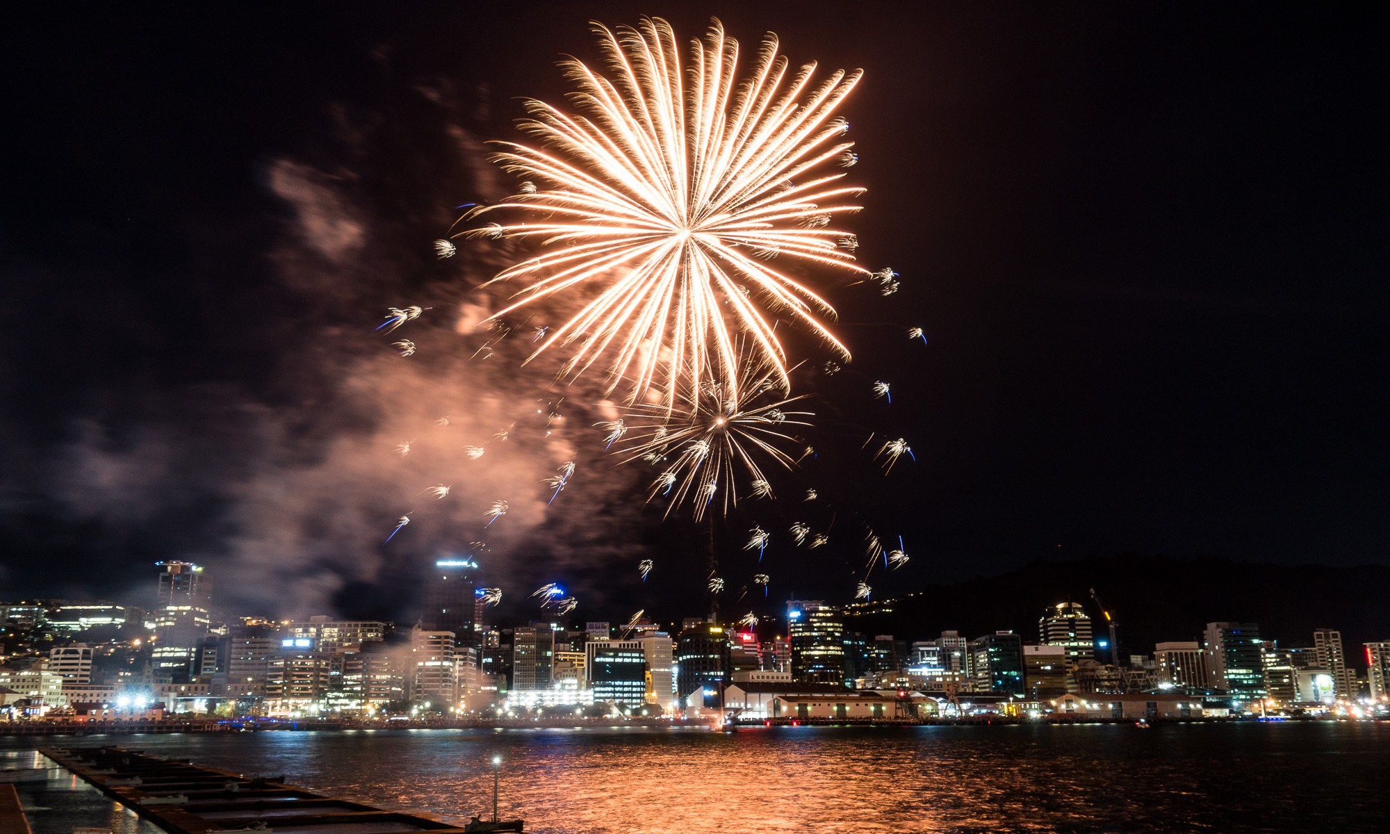 Fireworks over central Wellington