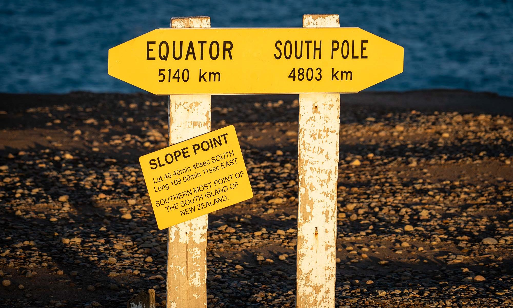 Sign at Slope Point