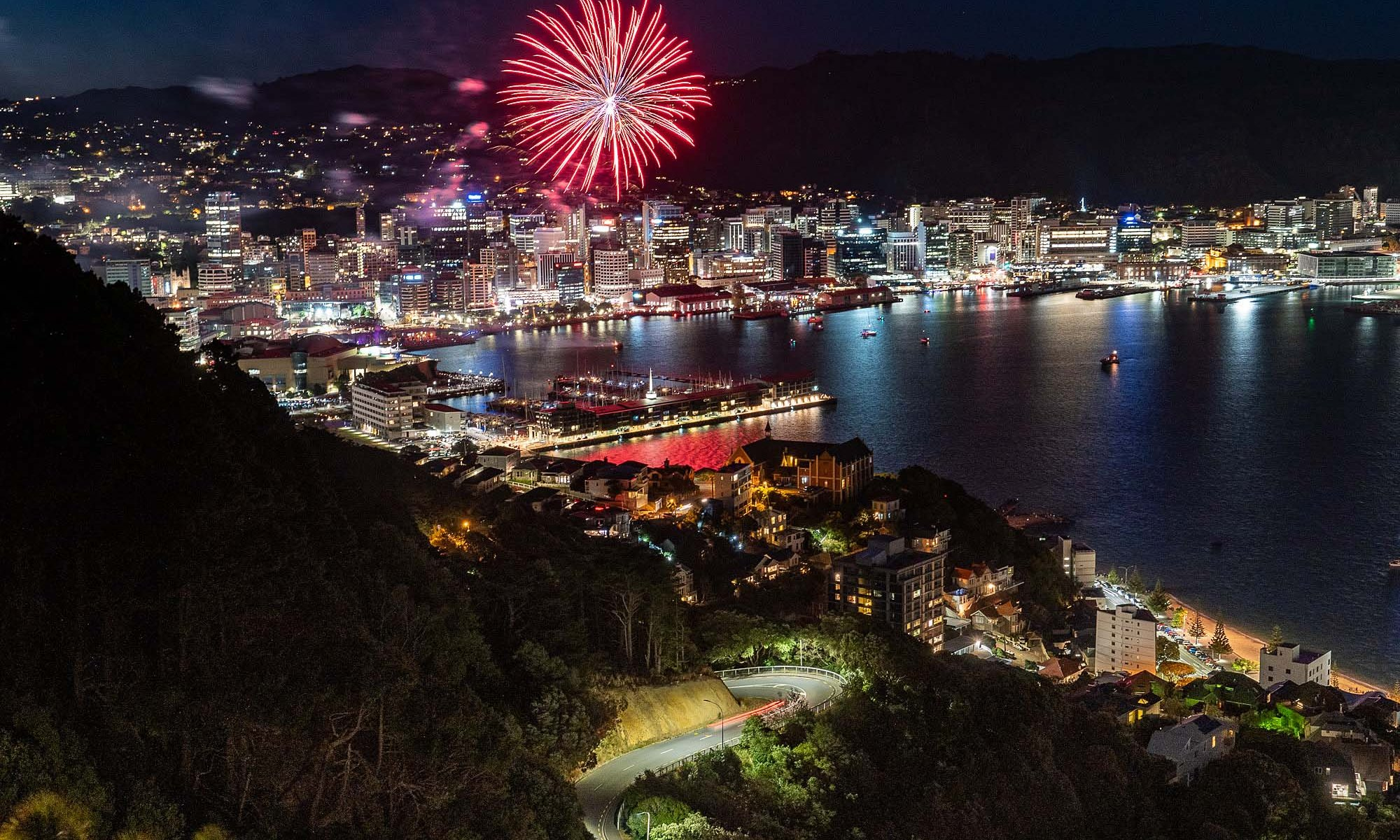 Fireworks from Mount Victoria