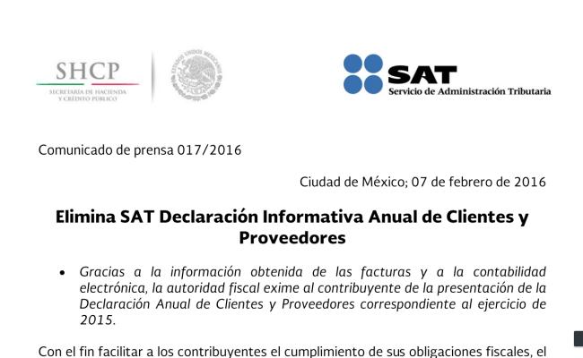 Elimina Sat Declaración Informativa Anual Espacio