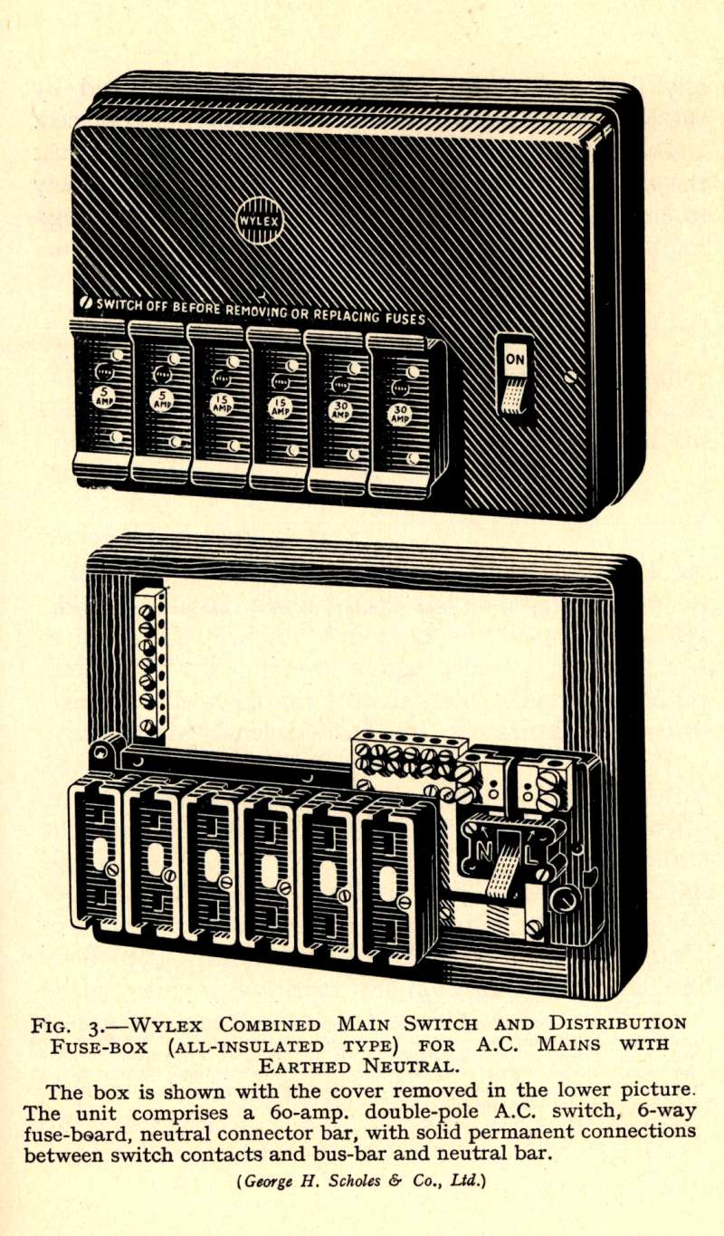 hight resolution of original catalogue description of the wylex fusebox from the 1950s