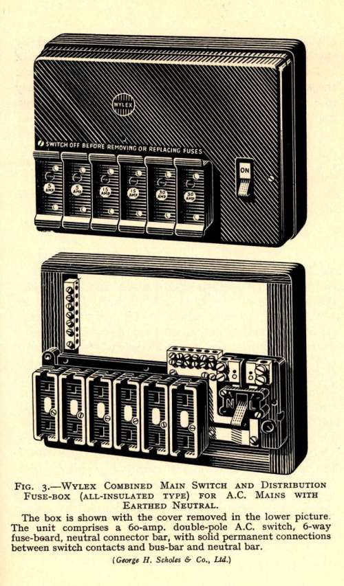 small resolution of original catalogue description of the wylex fusebox from the 1950s
