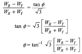 Power Factor by Two Wattmeter Method
