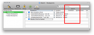 Conditional breakpoint field in Xcode